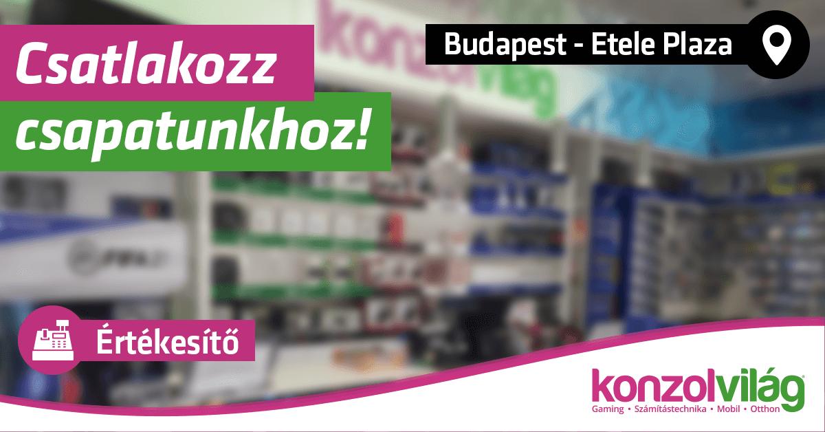 Értékesítő – Budapest Etele Plaza