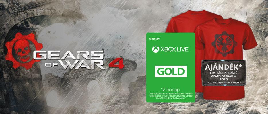 Xbox Live Gold ajándék Gears of War 4 pólóval | Konzolvilág