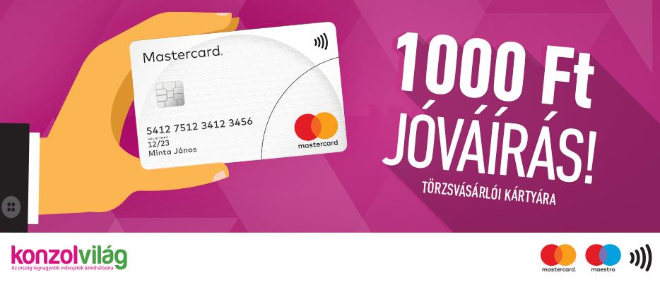 1.000 forint jóváírás minden 10.000 forintos vásárlás felett, Mastercard vagy Maestro bankkártya használata esetén!