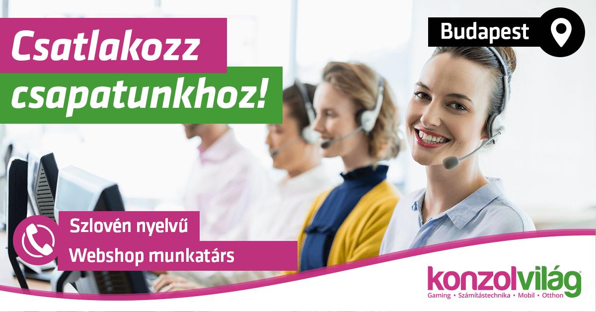 Szlovén nyelvű Ügyfélszolgálati és Webshop munkatárs