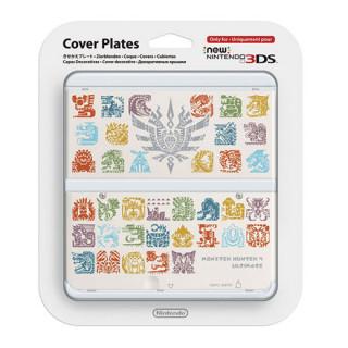 New Nintendo 3DS Cover Plate (Monster Hunter 4 mintázatú, fehér) (Borító) 3DS