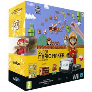 Nintendo Wii U Premium (Fekete) + Super Mario Maker + Classic Colour Mario amiibo Bundle
