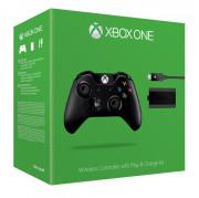 Xbox One Vezeték nélküli Kontroller Jack dugóval (Fekete) + Play & Charge Kit XBOX ONE