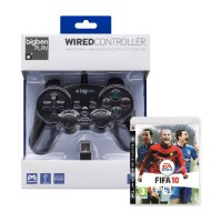 BigBen PS3 Wired (Vezetékes) Controller (fekete) + FIFA 10 PS3
