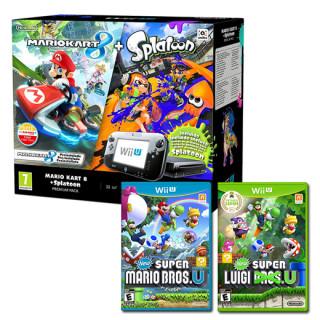 Nintendo Wii U Premium (Fekete) + Splatoon + Mario Kart 8 + New Super Mario Bros U + New Super Luigi U
