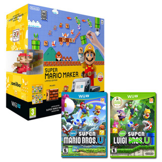 Nintendo Wii U Premium (Fekete) + Super Mario Maker + Classic Colour Mario amiibo Bundle + New Super Mario Bros U + New Super Luigi U WII U