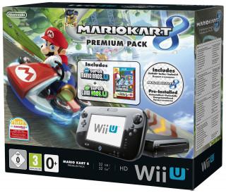 Nintendo Wii U Premium (Fekete) + Mario Kart 8 + New Super Mario Bros. U + New Super Luigi U