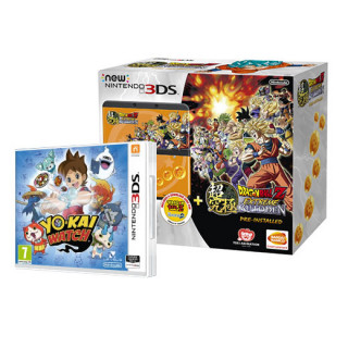 New Nintendo 3DS (Fekete) Dragon Ball Z Extreme Butoden Bundle + Yo-Kai Watch 3DS