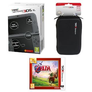 New Nintendo 3DS XL (Metallic Black) + The Legend of Zelda Ocarina of Time + 3DS XL Pouch 3DS
