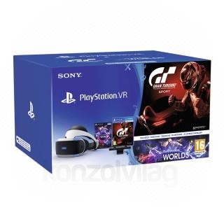 PlayStation VR Headset + Camera + VR Worlds + Gran Turismo Sport PS4