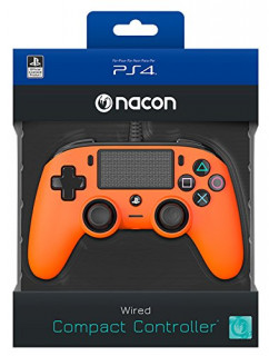 Playstation 4 (PS4) Wired Compact Kontroller Narancs (Nacon) PS4