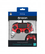 PlayStation 4 (PS4) Nacon Wired Compact Kontroller (Illuminated) (Piros) PS4
