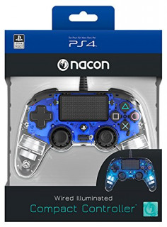 PlayStation 4 (PS4) Nacon Wired Compact Kontroller (Illuminated) (Kék) PS4