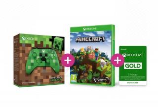 Xbox One Vezeték nélküli Kontroller (Minecraft Creeper Limited Edition) +  Minecraft Explorer's Pack + 3 hónapos Live Gold tagság XBOX ONE