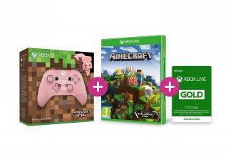 Xbox One Vezeték nélküli Kontroller (Minecraft Pig Limited Edition) +  Minecraft Explorer's Pack + 3 hónapos Live Gold tagság XBOX ONE