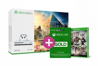 Xbox One S 500GB + Assassin's Creed Origins + 3 hónapos Live Gold tagság + For Honor XBOX ONE