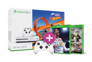 Xbox One S 500GB + Forza Horizon 3 + Hot Wheels DLC + kontroller + FIFA 18 + For Honor XBOX ONE