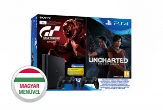 PlayStation 4 (PS4) Slim 1TB + Dualshock 4 kontroller + Gran Turismo Sport + Uncharted Lost Legacy PS4