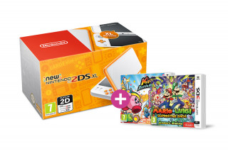 New Nintendo 2DS XL (White-Orange) + Kirby Battle Royale + M&L Superstar S 3DS