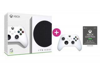 Xbox Series S 512GB + 3 hónap Game Pass Ultimate előfizetés + második Xbox vezeték nélküli kontroller (Fehér)