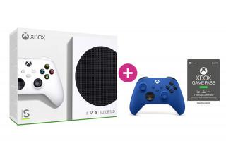 Xbox Series S 512GB + 3 hónap Game Pass Ultimate előfizetés + második Xbox vezeték nélküli kontroller (Kék)