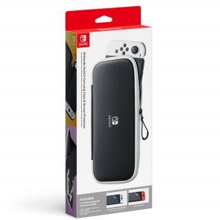 Nintendo Switch védőtok és kijelzővédő fólia (Fekete/Fehér)