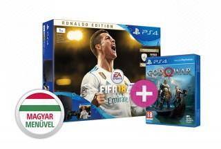 PlayStation 4 (PS4) Slim 1TB + FIFA 18 Ronaldo Edition + ajándék God of War (2018) játék PS4