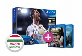 PlayStation 4 (PS4) Slim 1TB + FIFA 18 + DS4 kontroller + Call of Duty WWII PS4