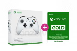 Xbox One Vezeték nélküli Kontroller (Fehér) + 3 hónapos Xbox Live Gold előfizetés XBOX ONE