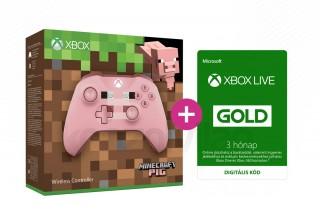 Xbox One Vezeték nélküli Kontroller (Minecraft Pig Limited Edition) + 3 hónapos Xox Live Gold előfizetés XBOX ONE