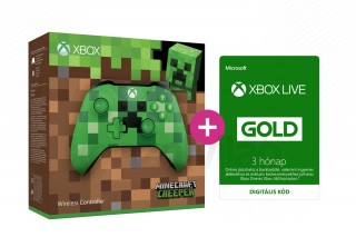 Xbox One Vezeték nélküli Kontroller (Minecraft Creeper Limited Edition) + 3 hónapos Xbox Live Gold előfizetés XBOX ONE