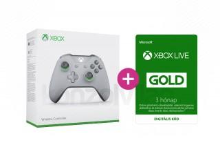 Xbox One Vezeték nélküli Kontroller (Szürke/Zöld) + 3 hónapos Xbox Live Gold előfizetés XBOX ONE