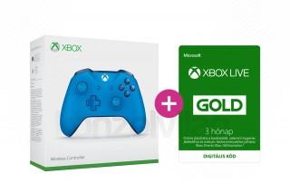 Xbox One Vezeték nélküli Kontroller (Kék) + 3 hónapos Xbox Live Gold előfizetés XBOX ONE