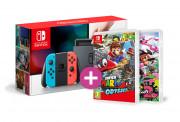 Nintendo Switch (Red-Blue) + Splatoon 2 + Super Mario Odyssey Switch