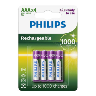 Philips Rechargeable AAA 1000 mAh Ready To Use 4-blister (R03B4RTU10/10)