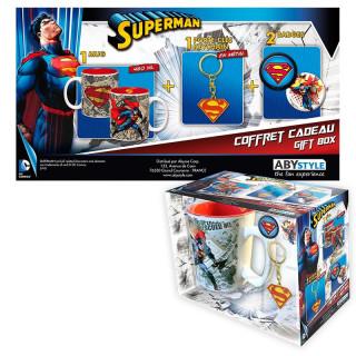 DC COMICS - Bögre + Kulcstartók + Kitűzők - Superman (460ml)