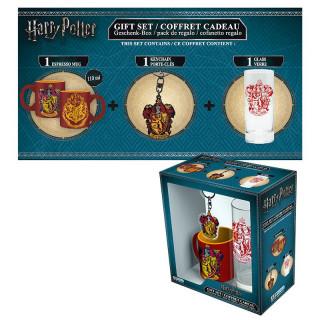 HARRY POTTER - Bögre + Kulcstartó + Üveg pohár - Gryffindor (110ml)
