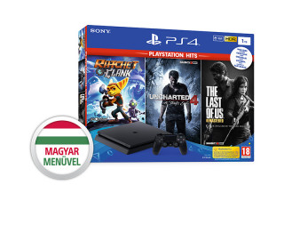 PlayStation 4 (PS4) Slim 1TB + Ratchet & Clank + The Last of Us + Uncharted 4 (PlayStation Hits)