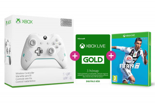 Xbox One vezeték nélküli kontroller (Sport White Special Edition) + FIFA  19 + Xbox Live Gold 3 hónapos előfizetés