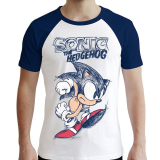 Sonic - Sonict férfi póló (fehér-kék) - Premium (L-es méret) AJÁNDÉKTÁRGY