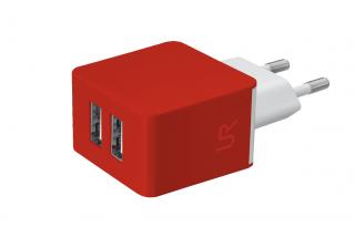 Trust 2x1A USB fali töltő piros