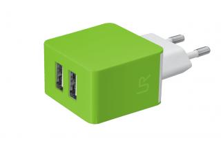 Trust 2x1A USB fali töltő zöld