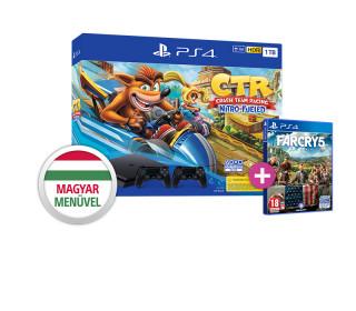 PlayStation4 (PS4) Slim 1TB + Crash Team Racing + két Dualshock 4 kontroller + Far Cry 5 PS4