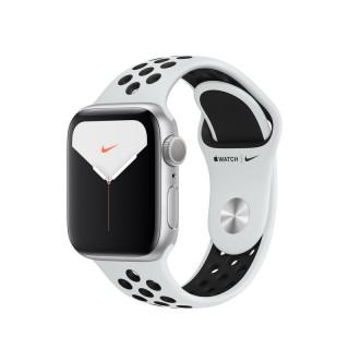 Apple Watch Nike Series 5 GPS, 40mm Ezüst alumíniumtok platinaszín-fekete Nike sportszíjjal Mobil