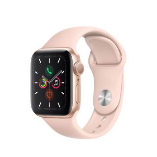 Apple Watch Series 5 GPS, 40mm Arany alumíniumtok rózsakvarcszínű sportszíjjal Mobil