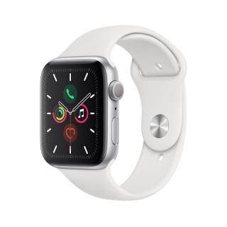Apple Watch Series 5 GPS, 44mm, Ezüst alumíniumtok fehér sportszíjjal Mobil