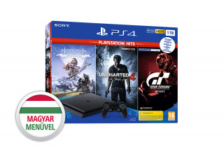 PlayStation 4 (PS4) Slim 1TB + Horizon Zero Dawn Complete Edition + Uncharted 4 + Gran Turismo Sport (PlayStation Hits) PS4