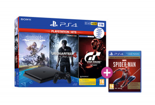 PlayStation 4 (PS4) Slim 1TB + Horizon Zero Dawn Complete Edition + Uncharted 4 + Gran Turismo Sport + Spider-Man Game of the Year Edition PS4