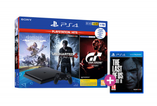 PlayStation 4 (PS4) Slim 1TB + Horizon Zero Dawn Complete Edition + Uncharted 4 + Gran Turismo Sport + The Last of Us Part II PS4