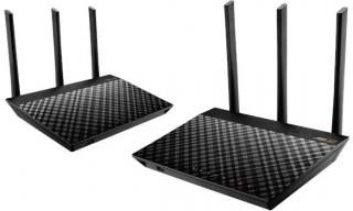 Asus RT-AC66U 2 darabos AC1750 Mbps Dual-band gigabit AiMesh mesh Wi-Fi router rendszer PC